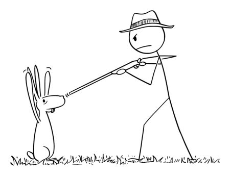 Vector cartoon stick figure drawing conceptual illustration of man with rifle or hunter pointing his gun at rabbit or hare or jackrabbit. Animal surrendered with paws or hands up.