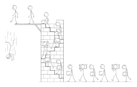 Vector cartoon stick figure drawing conceptual illustration of men or workers carrying big stone blocks as building material and climbing stairs on high tower. Career metaphor.