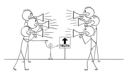 Vector cartoon stick figura disegno illustrazione concettuale di due gruppi di persone con altoparlanti urlanti e combattimenti. Ma si sbagliano, la verità è altrove. Vettoriali