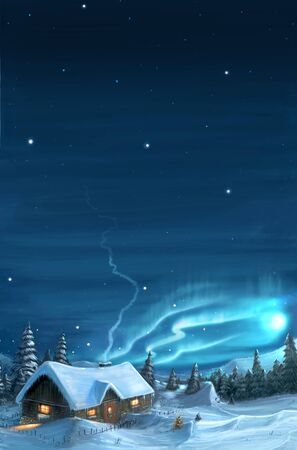 Romantic digital painting of snowy winter Christmas landscape. Mountain cottage in snow with trees around and northern lights or aurora on sky. Vertical Image.