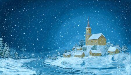 Romantic digital painting of snowy winter Christmas landscape. Village with small church on the hill and falling snow flakes. Blue horizontal image.