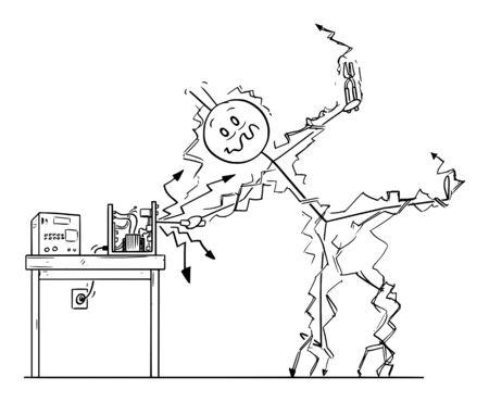 Vector cartoon stick figure dessin illustration conceptuelle d'un homme ou d'un réparateur réparant un appareil électronique et recevant un choc électrique. Concept de sécurité au travail.