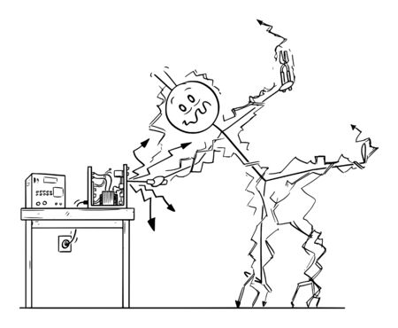 Vector cartoon stick figure drawing conceptual illustration of man or repairman repairing some electronic device and get electric shock. Occupational safety concept.