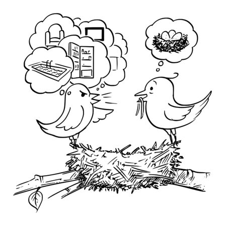 Vector cartoon drawing conceptual illustration of couple of birds sitting on nest, female is not satisfied with home and demanding more property. Concept of endless dissatisfaction.