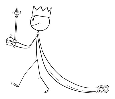 Vector cartoon stick figure drawing conceptual illustration of fantasy or medieval king walking in robe.