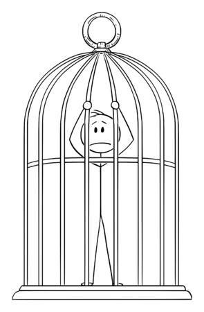 Vector cartoon stick figure drawing conceptual illustration of man or businessman trapped in golden bird cage. Stock Illustratie