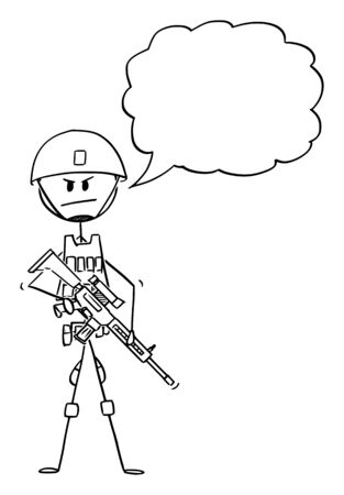 Vector cartoon stick figure drawing conceptual illustration of modern army soldier in camouflage vest and helmet and armed with rifle. Empty speech bubble for your text. Stock Illustratie