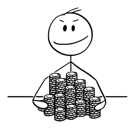 Vector cartoon stick figure drawing conceptual illustration of successful winner man or businessman with piles of poker or roulette casino chips.