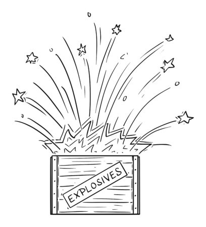 Vector cartoon drawing conceptual illustration of exploding box with explosives.