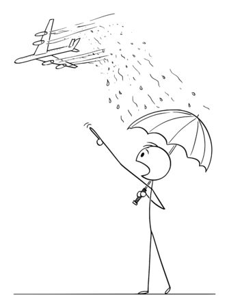Vector cartoon stick figure drawing conceptual illustration of man with umbrella pointing in panic at passenger jet aircraft. Chemtrail conspiracy theory concept.