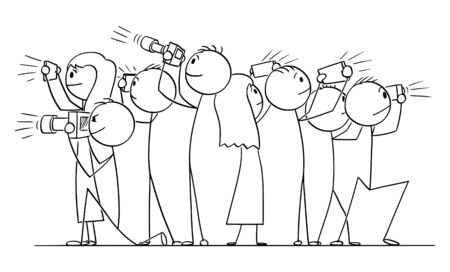 Vector cartoon stick figure drawing conceptual illustration of group of people, photographers or tourists taking pictures.