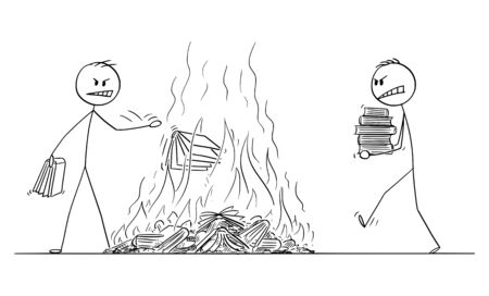 Vector cartoon stick figure drawing conceptual illustration of two men burning books, throwing books in fire. Concept of censorship and hate.