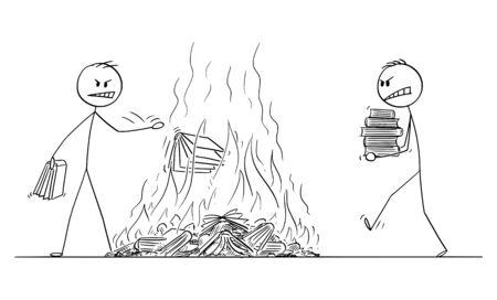 Vector cartoon stick figura disegno illustrazione concettuale di due uomini che bruciano libri, gettando libri nel fuoco. Concetto di censura e odio. Vettoriali