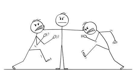 Vector cartoon stick figure drawing conceptual illustration of man, businessman or manager or leader stopping fight of two angry colleagues. Concept of leadership. Stock Illustratie