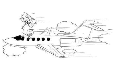 Vector cartoon stick figure drawing conceptual illustration of rich man, celebrity person or businessman flying with private jet aircraft and holding Save the Planet sign. Çizim