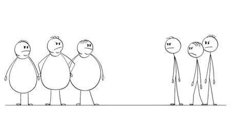 Vector cartoon stick figure drawing conceptual illustration of group of thin men looking at crowd of angry fat or obese people. Фото со стока - 131387153
