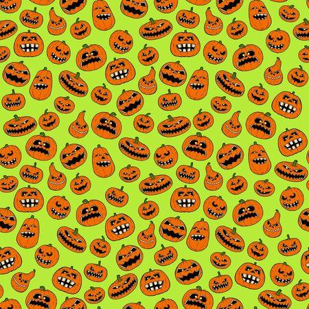 Seamless tileable design of orange halloween pumpkin pattern on green background. Stok Fotoğraf
