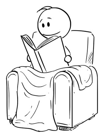 Vector cartoon stick figure drawing conceptual illustration of man siting under blanket in comfortable armchair or chair and reading the book.