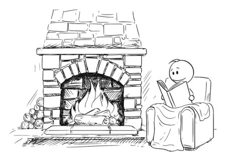 Vector cartoon stick figure drawing conceptual illustration of man siting under blanket in front of fireplace in comfortable armchair or chair and reading the book. Çizim
