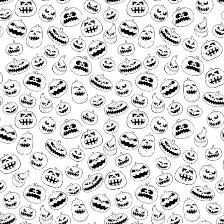 Vector seamless tileable black and white design of halloween pumpkin pattern.