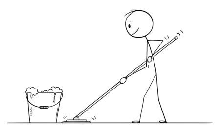 Vector cartoon stick figure drawing conceptual illustration of man mopping or cleaning the floor.