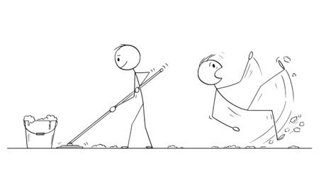 Vector cartoon stick figure drawing conceptual illustration of man mopping or cleaning the floor, another man slipped on the wet floor.