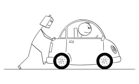 Vector cartoon stick figure drawing conceptual illustration of humanoid robot pushing broken or out of gas car. Concept or robotic car.