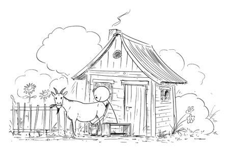 Vector cartoon stick figure drawing conceptual illustration of man or farmer milking goat on small old rural farm. Çizim