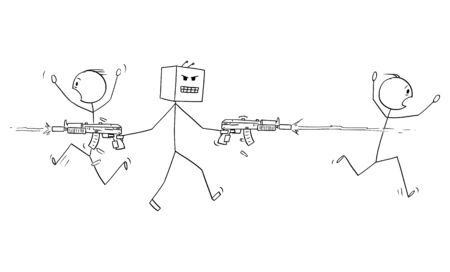 Vector cartoon stick figure drawing conceptual illustration of mad robot shooting weapons and killing people. Concept of artificial intelligence uprising. Illusztráció