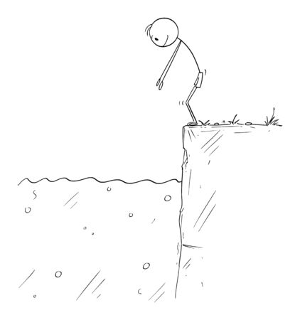 Vector cartoon stick figure drawing conceptual illustration of man or swimmer ready to jump in to water.