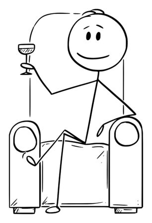 Vector cartoon stick figure drawing conceptual illustration of successful man or businessman or gentleman sitting in chair or armchair with drinking glass in hand.