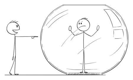 Vector cartoon stick figure drawing conceptual illustration of man or businessman trapped inside aquarium or fish tank. Competitor is laughing him from outside.