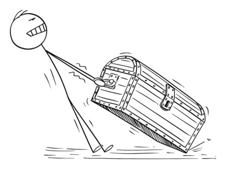 Vector cartoon stick figure drawing conceptual illustration of man or businessman pulling big and heavy wooden treasure chest. Concept of success.