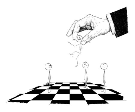 Vector cartoon stick figure drawing conceptual illustration of man moved by giant hand in suit as chess piece on chessboard. Concept of control and freedom. Ilustração