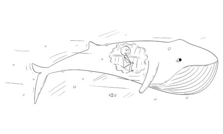 Vector cartoon stick figure drawing conceptual illustration of man sitting inside of the whale, biblical stroy of Jonas or Jonah and the whale. Иллюстрация
