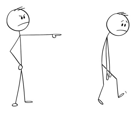 Vector cartoon stick figure drawing conceptual illustration of angry man or boss expelling another man, forcing him to leave.