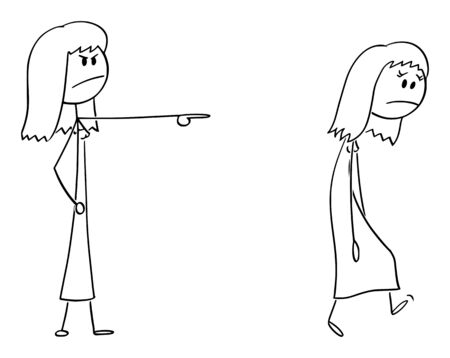 Vector cartoon stick figure drawing conceptual illustration of angry woman or female boss expelling another woman, forcing her to leave. Illusztráció