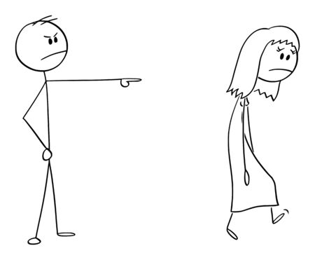 Vector cartoon stick figure drawing conceptual illustration of angry man or boss expelling woman, forcing her to leave. Çizim