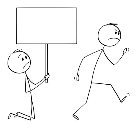 Vector cartoon stick figure drawing conceptual illustration of angry customer or worker walking away, and kneeling man holding empty sign begging him to dont leave.