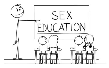 Vector cartoon stick figure drawing conceptual illustration of teacher in classroom with marker in hand pointing at sex education written on whiteboard.
