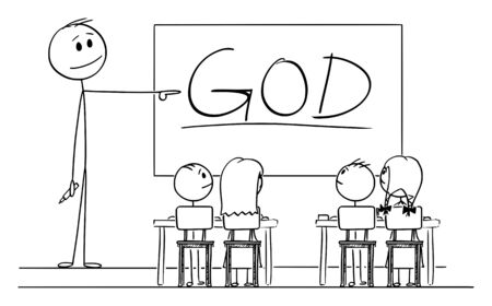 Vector cartoon stick figure drawing conceptual illustration of teacher in classroom with marker in hand pointing at god word written on whiteboard. Vectores