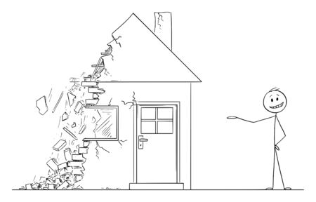 Vector cartoon stick figure drawing conceptual illustration of businessman or state agent or broker or realtor offering decaying house falling in to ruin.