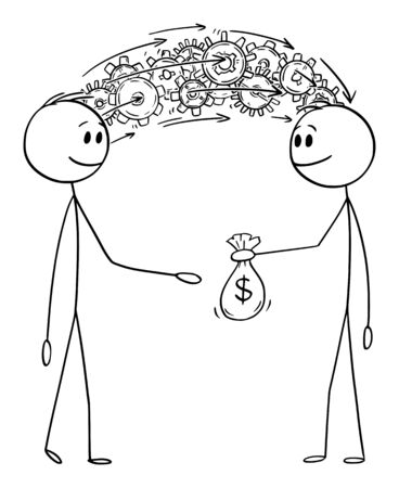 Vector cartoon stick figure drawing conceptual illustration of man or businessman sharing his knowledge and information for money.