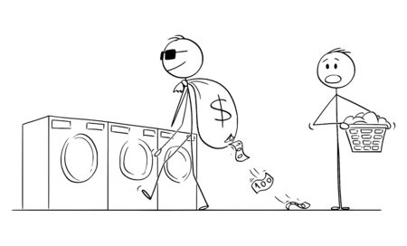 Vector cartoon stick figure drawing conceptual illustration of man or businessman or criminal going to lauder dirty money in laundry. Çizim