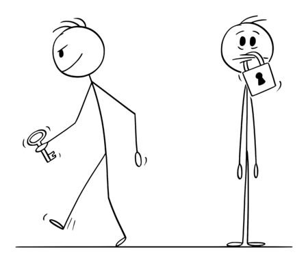 Vector cartoon stick figure drawing conceptual illustration of man with padlock on his mouth, another man is leaving with key. Concept of silence and censorship.