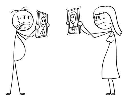 Vector cartoon stick figure drawing conceptual illustration of ordinary or ugly man and woman, showing their unrealistic retouched and idealized photos on social networks on mobile phones.