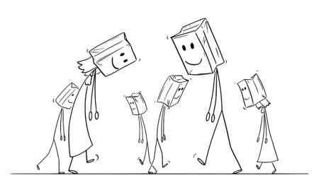 Vector cartoon stick figure drawing conceptual illustration of sad and depressed people walking on the street, with paper bags with painted smile on their heads as mask.