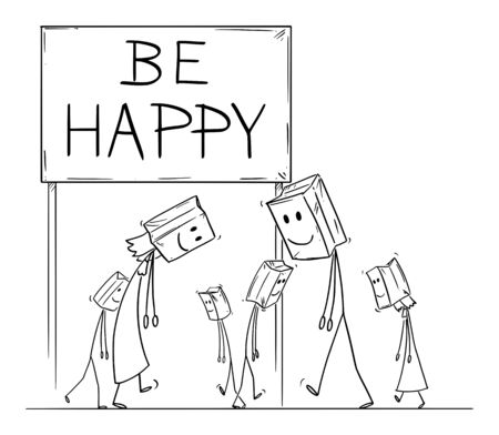 Vector cartoon stick figure drawing conceptual illustration of sad and depressed people walking under be happy sign, with paper bags with painted smile on their heads as mask. 向量圖像