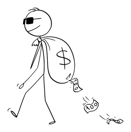 Vector cartoon stick figure drawing conceptual illustration of man, criminal, secret agent or businessman with sunglasses carrying bug money bag on his bag with dollar currency symbol. 向量圖像