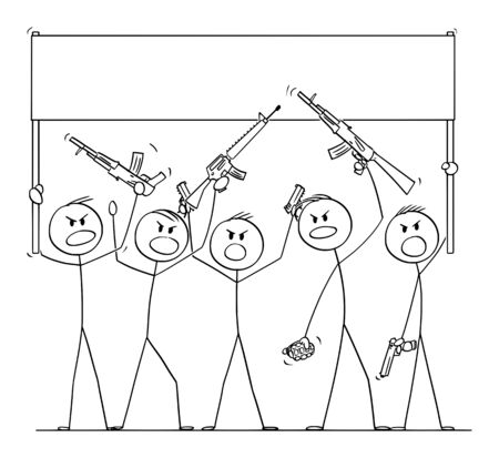 Vector cartoon stick figure drawing conceptual illustration of group or crowd of soldiers, or armed people with guns demonstrating or brandish with pistols and rifles and holding empty sign. Ilustração